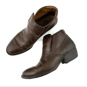 Born Brown Leather Ankle Boots Size 8.5